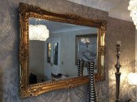 X LARGE Bright Metallic SILVER Ornate Decorative Wall ...